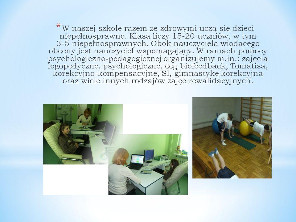 * W naszej szkole razem ze zdrowymi uczą się dzieci niepełnosprawne.