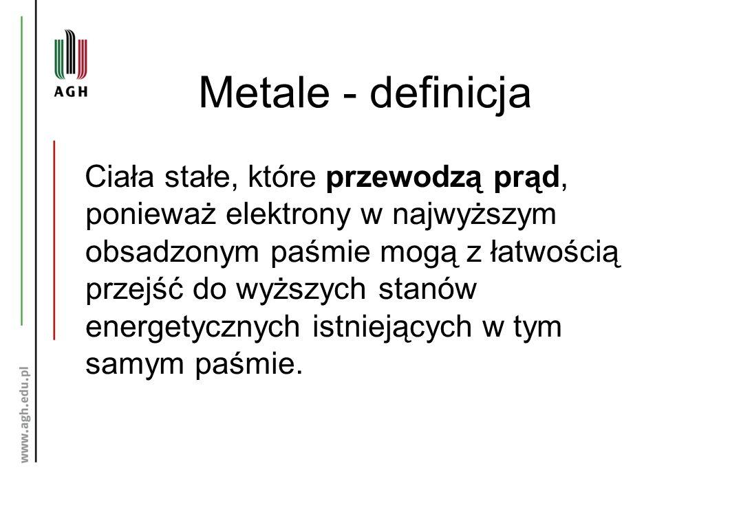 Metale - definicja Ciała stałe, które przewodzą prąd, ponieważ elektrony w najwyższym obsadzonym paśmie mogą z łatwością przejść do wyższych stanów energetycznych istniejących w tym samym paśmie.