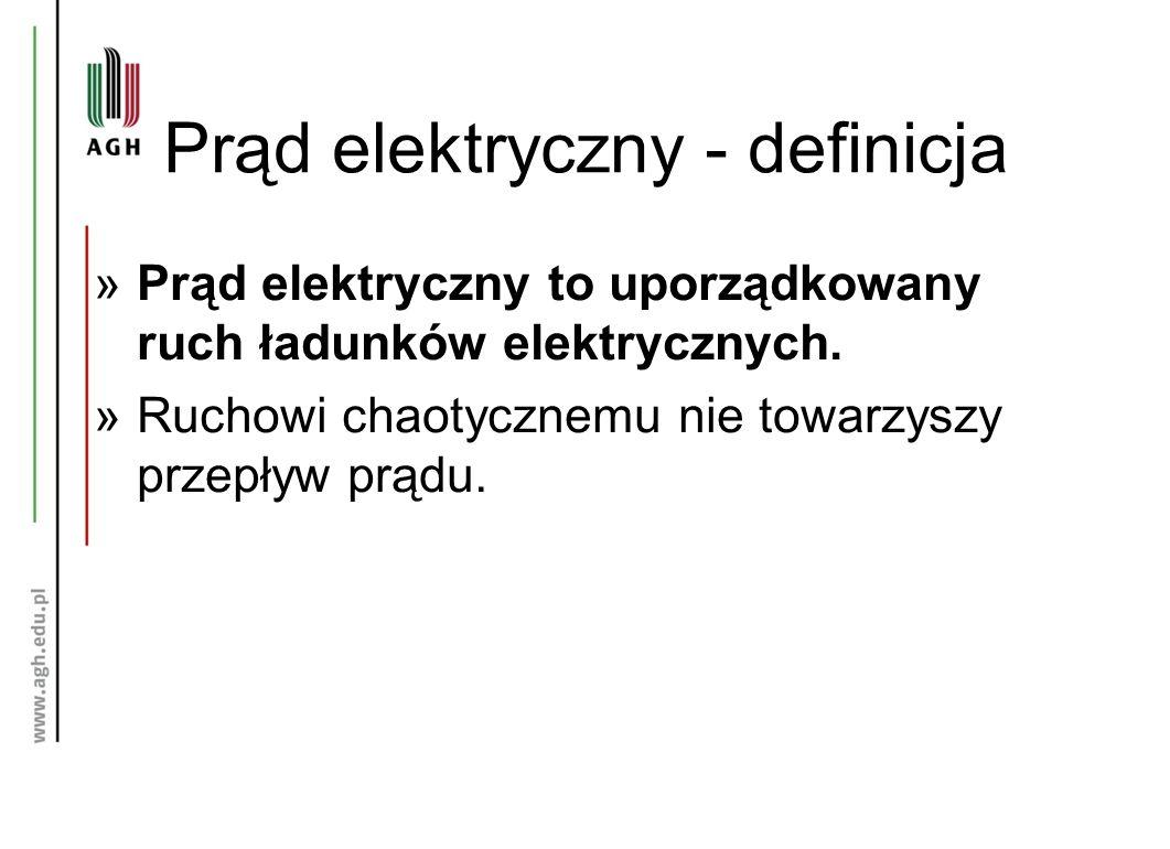 Prąd elektryczny - definicja »Prąd elektryczny to uporządkowany ruch ładunków elektrycznych.