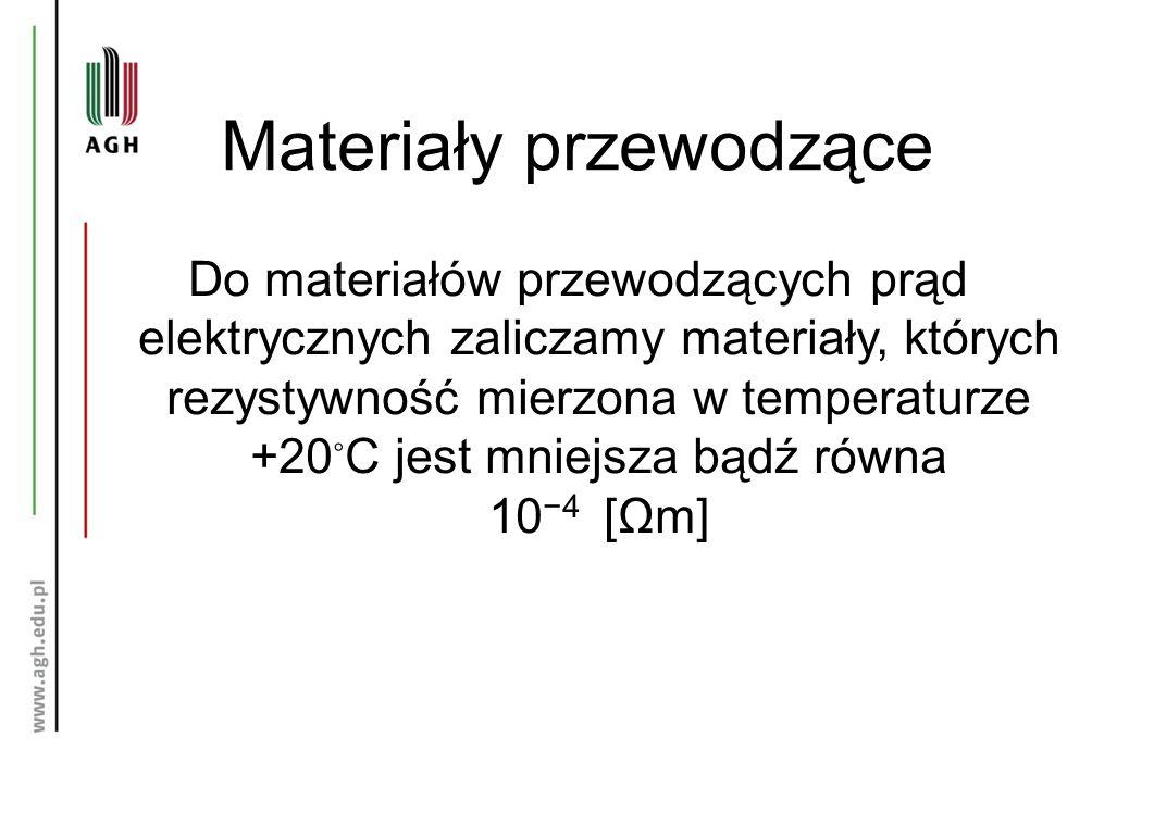 Materiały przewodzące Do materiałów przewodzących prąd elektrycznych zaliczamy materiały, których rezystywność mierzona w temperaturze +20 ◦ C jest mniejsza bądź równa 10 −4 [Ωm]