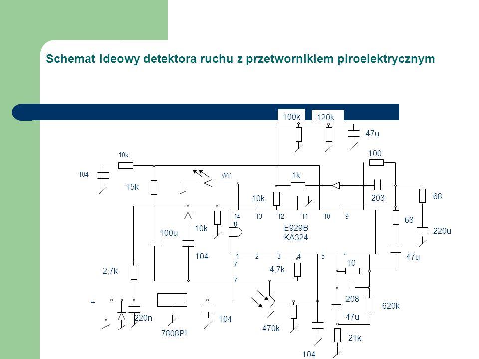 Schemat ideowy detektora ruchu z przetwornikiem piroelektrycznym