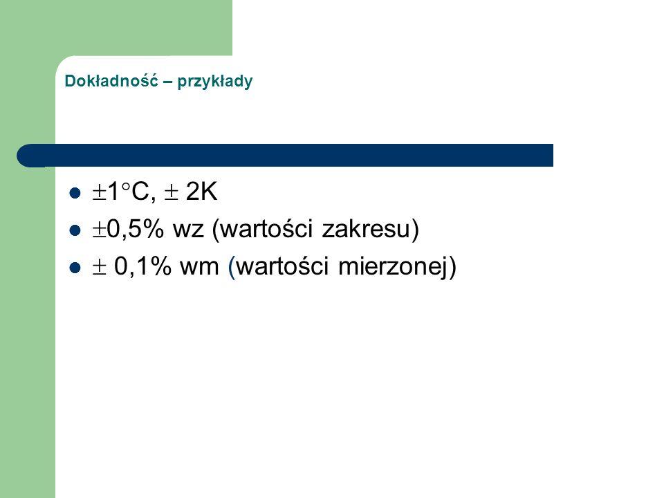 Dokładność – przykłady  1°C,  2K  0,5% wz (wartości zakresu)  0,1% wm (wartości mierzonej)