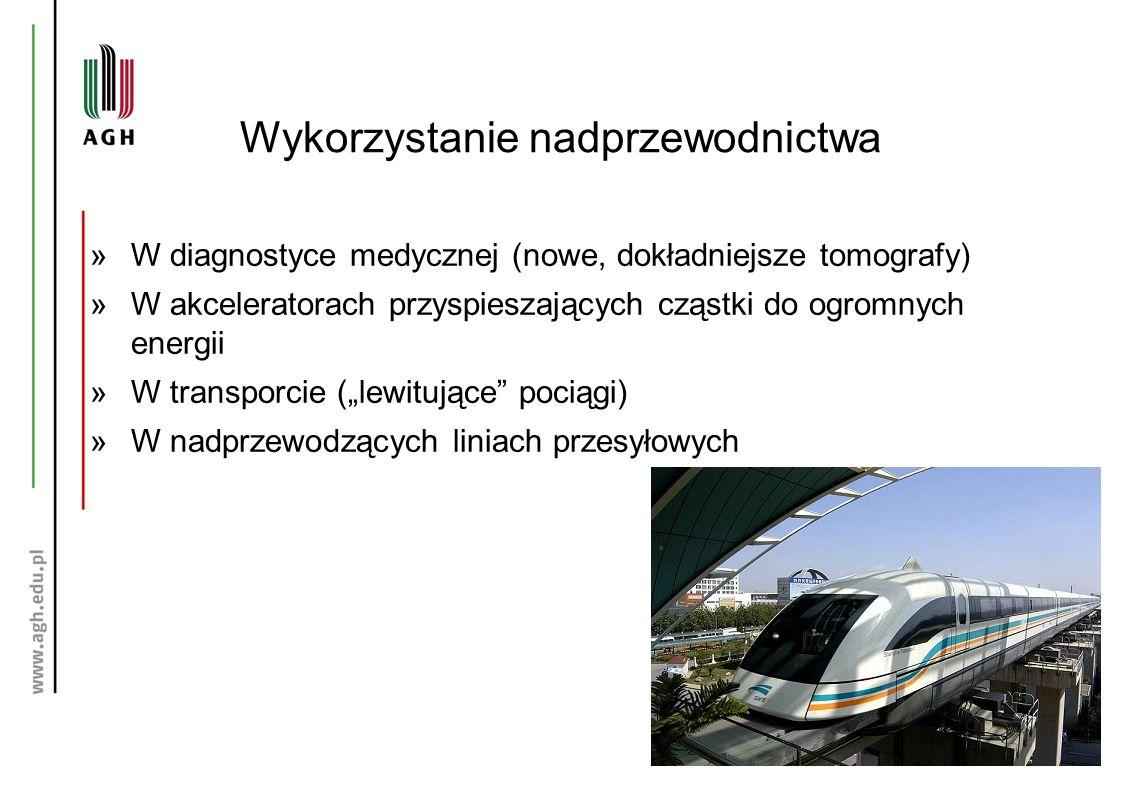 """Wykorzystanie nadprzewodnictwa »W diagnostyce medycznej (nowe, dokładniejsze tomografy) »W akceleratorach przyspieszających cząstki do ogromnych energii »W transporcie (""""lewitujące pociągi) »W nadprzewodzących liniach przesyłowych"""