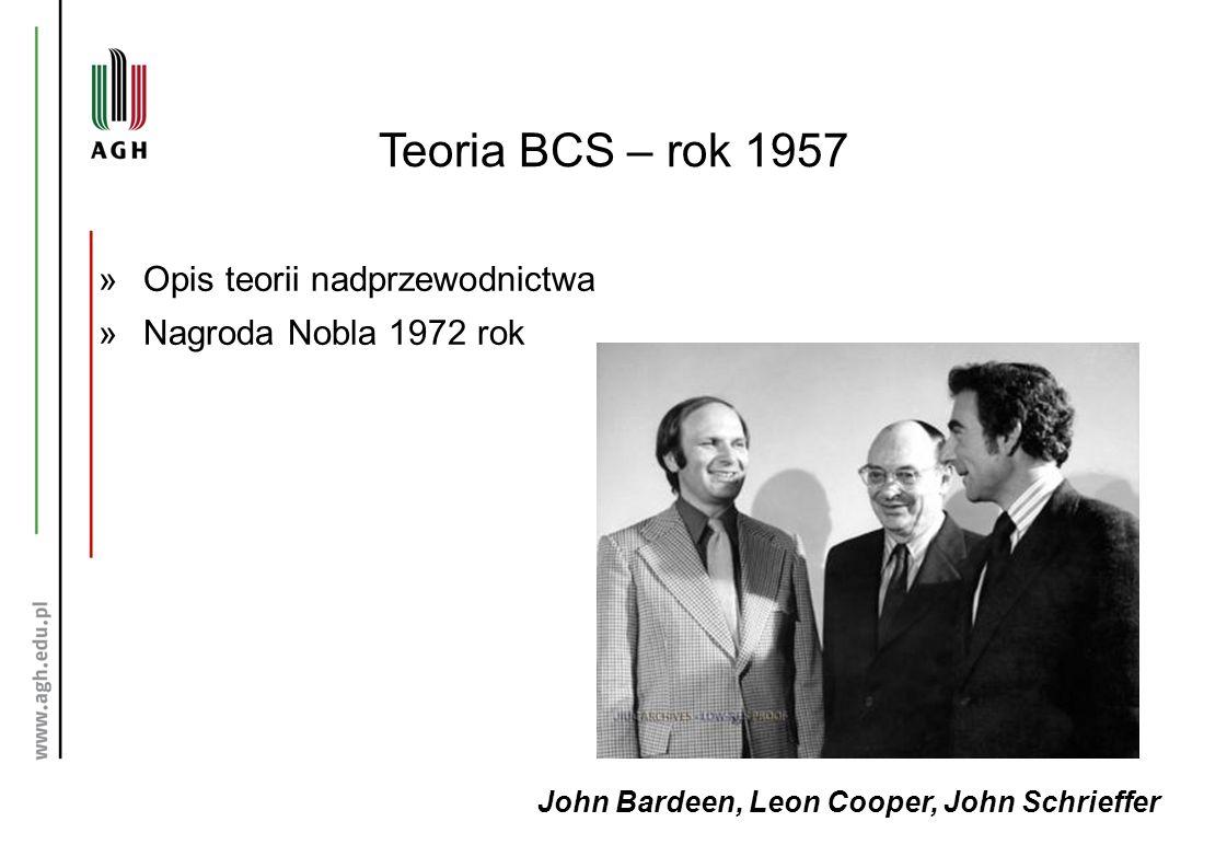 Teoria BCS – rok 1957 John Bardeen, Leon Cooper, John Schrieffer »Opis teorii nadprzewodnictwa »Nagroda Nobla 1972 rok