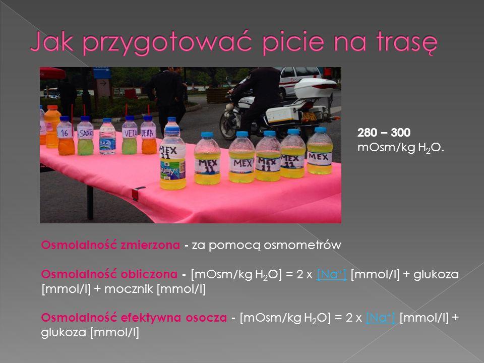 Osmolalność zmierzona - za pomocą osmometrów Osmolalność obliczona - [mOsm/kg H 2 O] = 2 x [Na + ] [mmol/l] + glukoza [mmol/l] + mocznik [mmol/l][Na + ] Osmolalność efektywna osocza - [mOsm/kg H 2 O] = 2 x [Na + ] [mmol/l] + glukoza [mmol/l][Na + ] 280 – 300 mOsm/kg H 2 O.