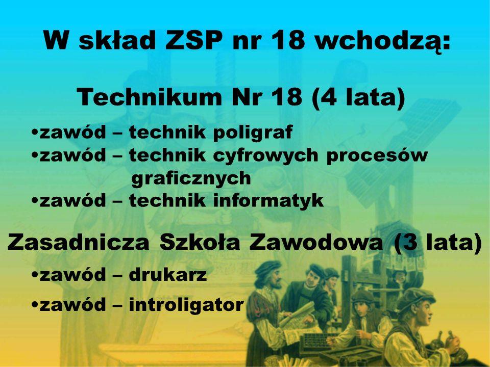 W skład ZSP nr 18 wchodzą: Technikum Nr 18 (4 lata) zawód – technik poligraf zawód – technik cyfrowych procesów graficznych zawód – technik informatyk Zasadnicza Szkoła Zawodowa (3 lata) zawód – drukarz zawód – introligator