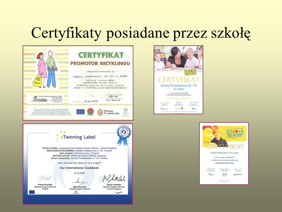 Certyfikaty posiadane przez szkołę