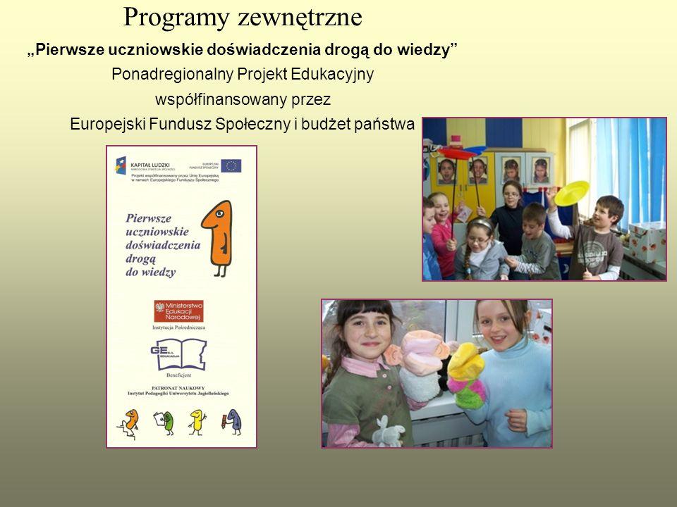 """Programy zewnętrzne """"Pierwsze uczniowskie doświadczenia drogą do wiedzy Ponadregionalny Projekt Edukacyjny współfinansowany przez Europejski Fundusz Społeczny i budżet państwa"""