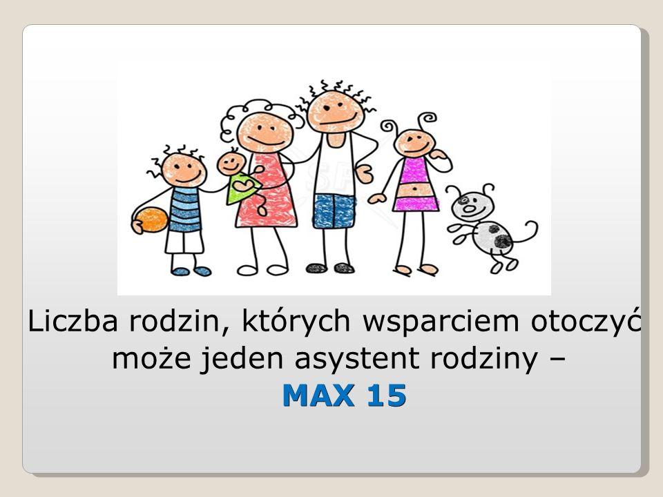 Liczba rodzin, których wsparciem otoczyć może jeden asystent rodziny – MAX 15