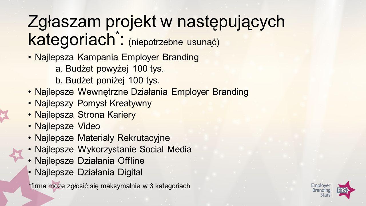Zgłaszam projekt w następujących kategoriach * : (niepotrzebne usunąć) Najlepsza Kampania Employer Branding a.