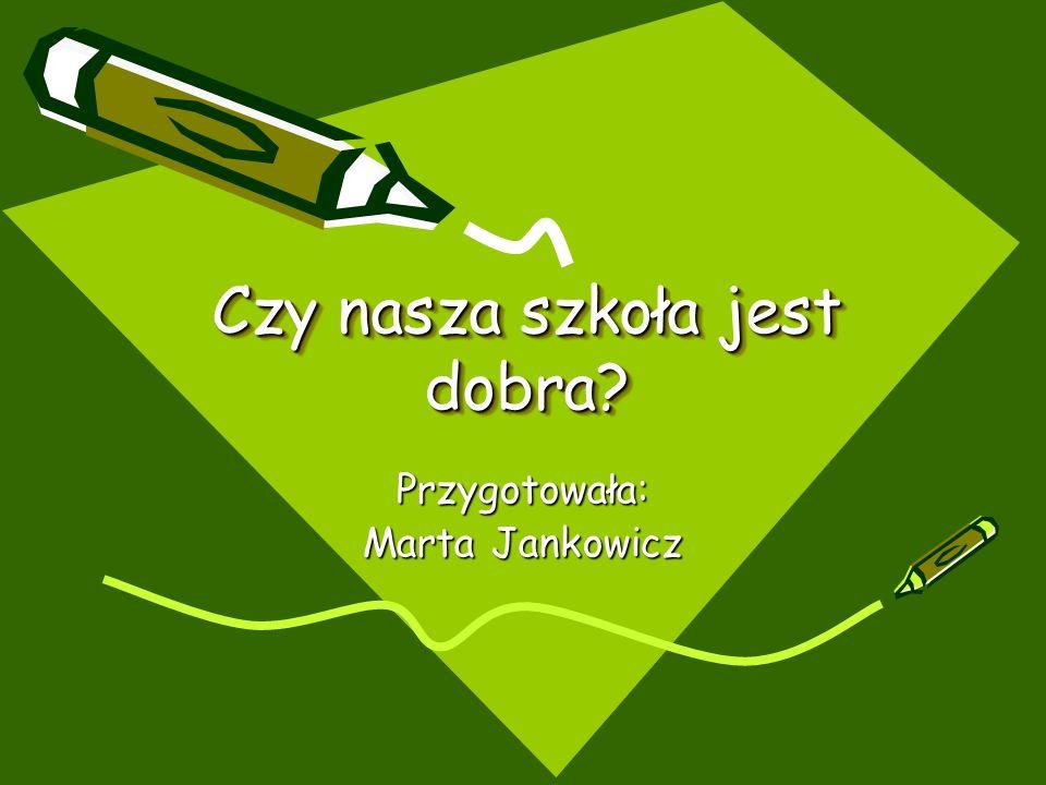 Czy nasza szkoła jest dobra Przygotowała: Marta Jankowicz