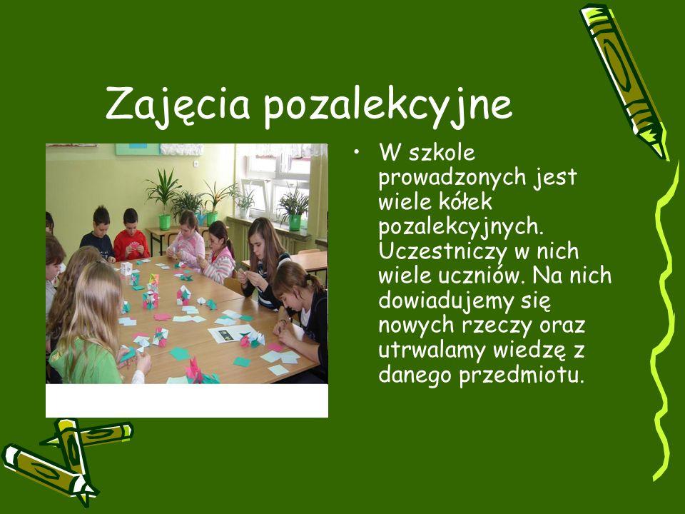 Zajęcia pozalekcyjne W szkole prowadzonych jest wiele kółek pozalekcyjnych.