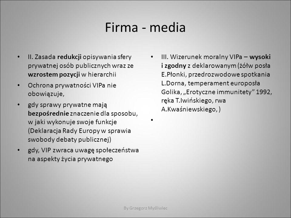 Firma - media II. Zasada redukcji opisywania sfery prywatnej osób publicznych wraz ze wzrostem pozycji w hierarchii Ochrona prywatności VIPa nie obowi