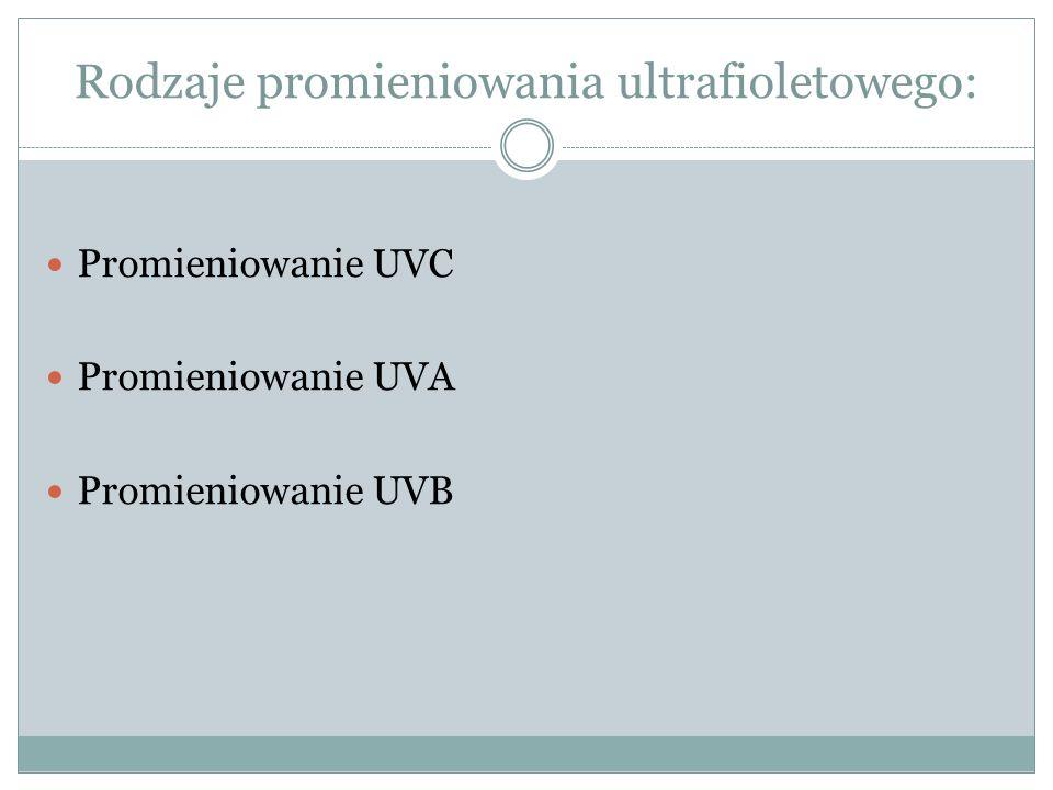 Rodzaje promieniowania ultrafioletowego: Promieniowanie UVC Promieniowanie UVA Promieniowanie UVB