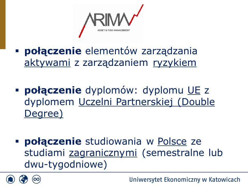  połączenie elementów zarządzania aktywami z zarządzaniem ryzykiem  połączenie dyplomów: dyplomu UE z dyplomem Uczelni Partnerskiej (Double Degree)  połączenie studiowania w Polsce ze studiami zagranicznymi (semestralne lub dwu-tygodniowe)