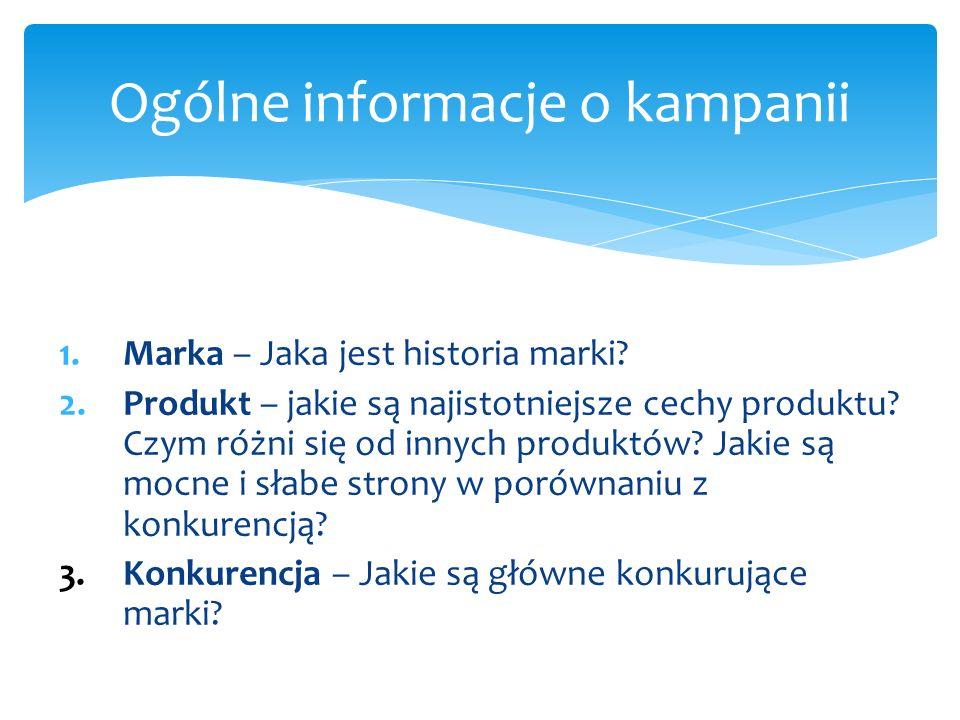 1.Marka – Jaka jest historia marki. 2.Produkt – jakie są najistotniejsze cechy produktu.
