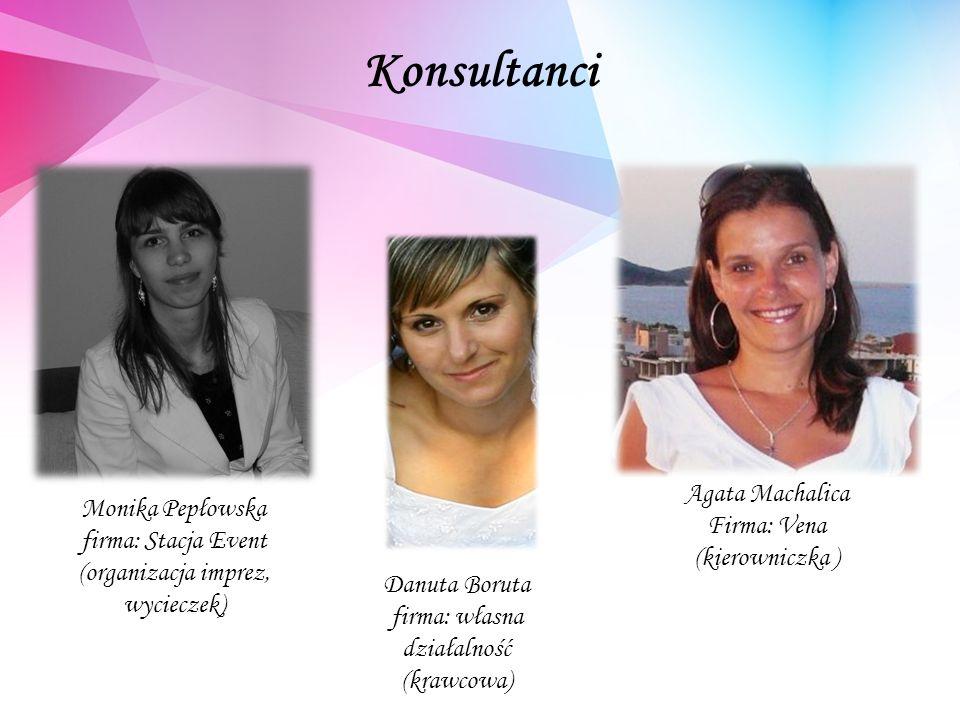 Konsultanci Monika Pepłowska firma: Stacja Event (organizacja imprez, wycieczek) Danuta Boruta firma: własna działalność (krawcowa) Agata Machalica Firma: Vena (kierowniczka )