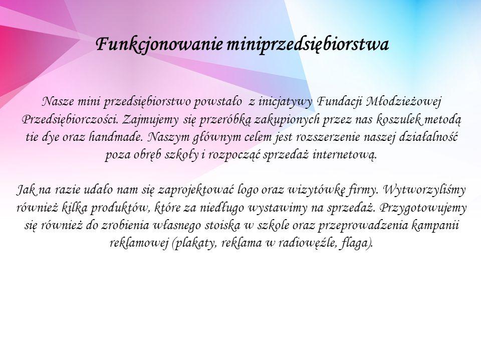 Funkcjonowanie miniprzedsiębiorstwa Nasze mini przedsiębiorstwo powstało z inicjatywy Fundacji Młodzieżowej Przedsiębiorczości.