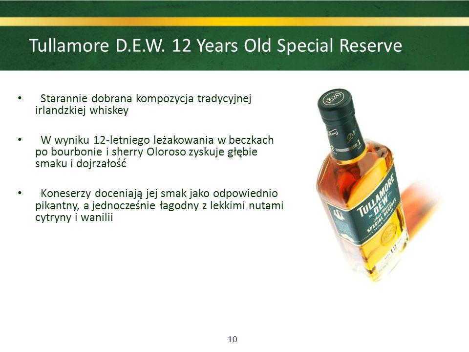 10 Starannie dobrana kompozycja tradycyjnej irlandzkiej whiskey W wyniku 12-letniego leżakowania w beczkach po bourbonie i sherry Oloroso zyskuje głębie smaku i dojrzałość Koneserzy doceniają jej smak jako odpowiednio pikantny, a jednocześnie łagodny z lekkimi nutami cytryny i wanilii Tullamore D.E.W.
