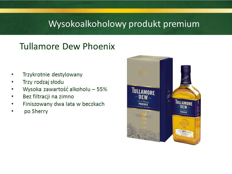 Tullamore Dew Phoenix Trzykrotnie destylowany Trzy rodzaj słodu Wysoka zawartość alkoholu – 55% Bez filtracji na zimno Finiszowany dwa lata w beczkach po Sherry Wysokoalkoholowy produkt premium