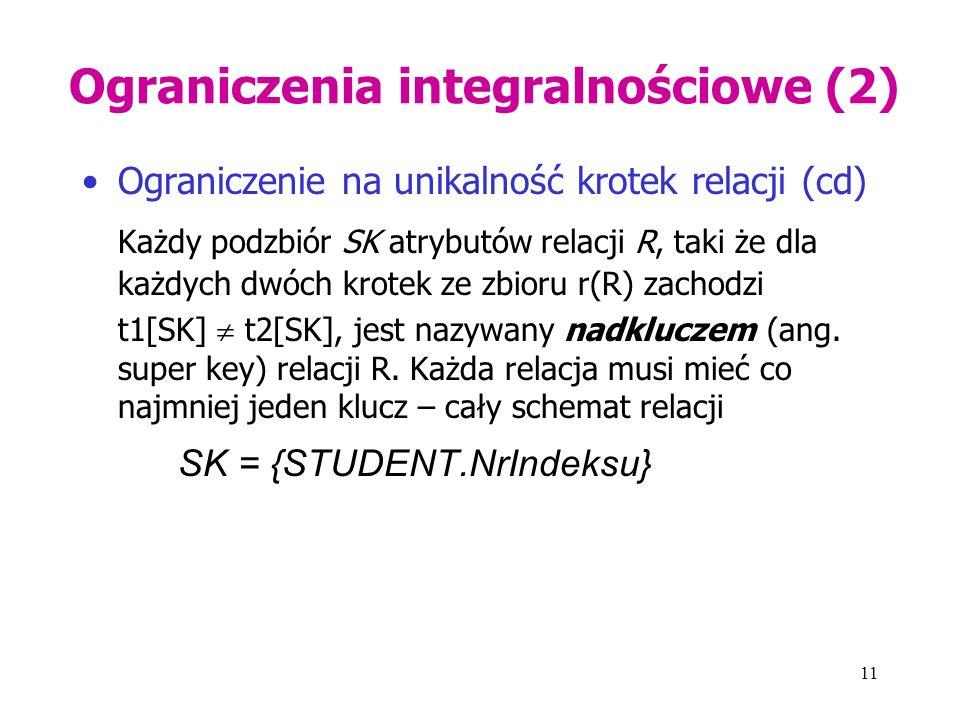 11 Ograniczenia integralnościowe (2) Ograniczenie na unikalność krotek relacji (cd) Każdy podzbiór SK atrybutów relacji R, taki że dla każdych dwóch krotek ze zbioru r(R) zachodzi t1[SK]  t2[SK], jest nazywany nadkluczem (ang.