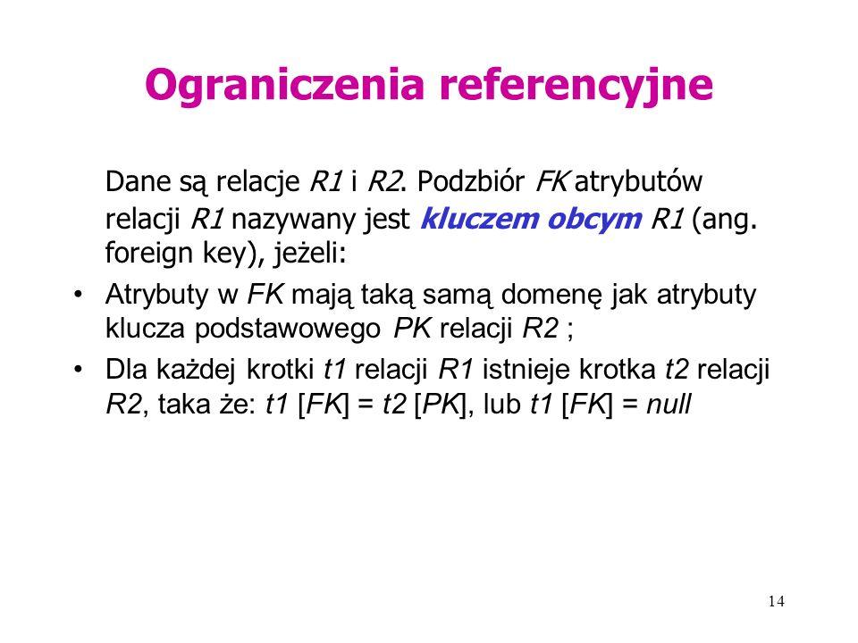14 Ograniczenia referencyjne Dane są relacje R1 i R2. Podzbiór FK atrybutów relacji R1 nazywany jest kluczem obcym R1 (ang. foreign key), jeżeli: Atry