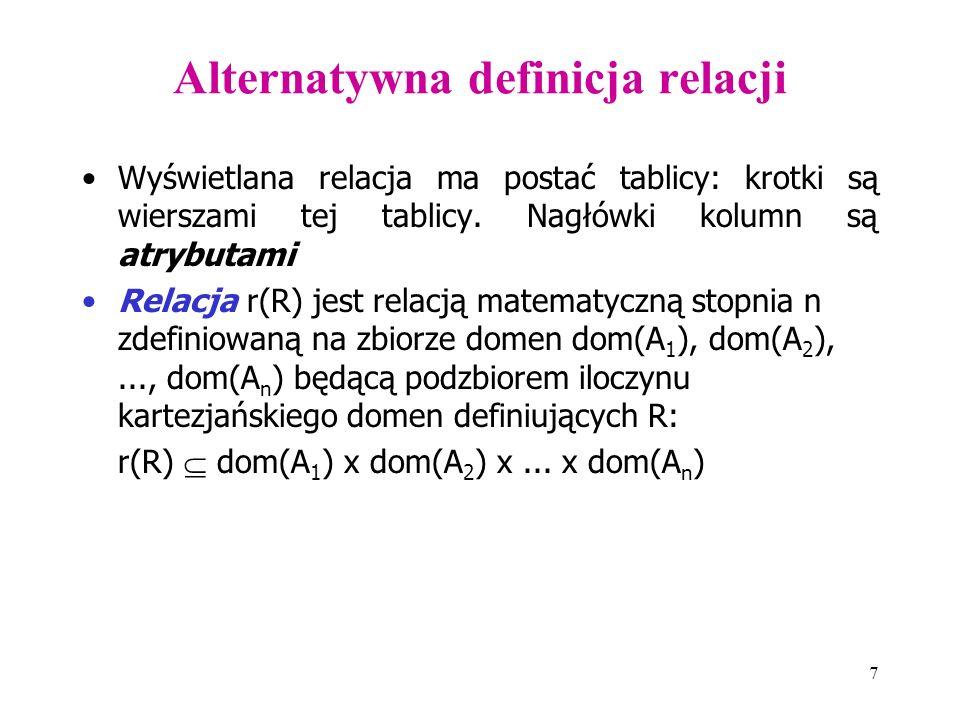 7 Alternatywna definicja relacji Wyświetlana relacja ma postać tablicy: krotki są wierszami tej tablicy. Nagłówki kolumn są atrybutami Relacja r(R) je