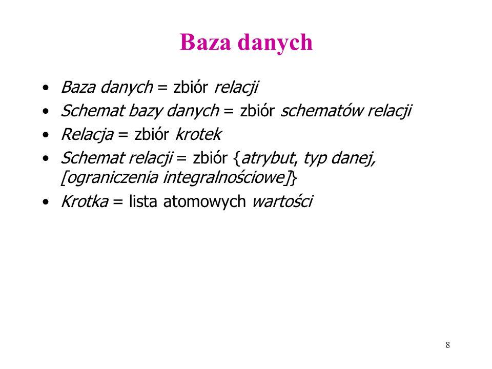 8 Baza danych Baza danych = zbiór relacji Schemat bazy danych = zbiór schematów relacji Relacja = zbiór krotek Schemat relacji = zbiór {atrybut, typ danej, [ograniczenia integralnościowe]} Krotka = lista atomowych wartości