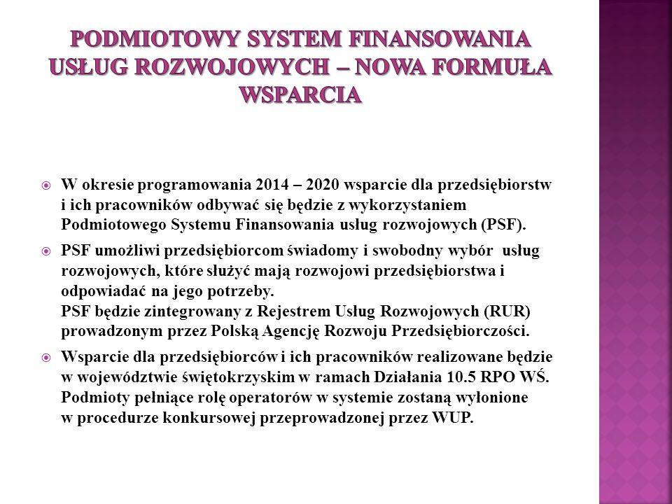  W okresie programowania 2014 – 2020 wsparcie dla przedsiębiorstw i ich pracowników odbywać się będzie z wykorzystaniem Podmiotowego Systemu Finansowania usług rozwojowych (PSF).