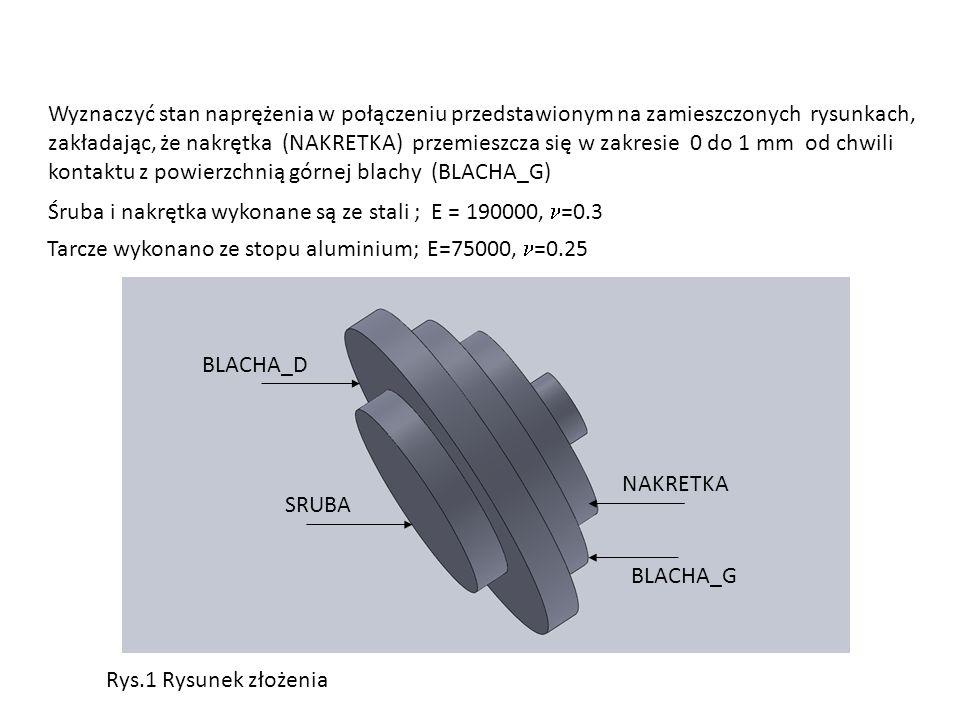 Wyznaczyć stan naprężenia w połączeniu przedstawionym na zamieszczonych rysunkach, zakładając, że nakrętka (NAKRETKA) przemieszcza się w zakresie 0 do 1 mm od chwili kontaktu z powierzchnią górnej blachy (BLACHA_G) Śruba i nakrętka wykonane są ze stali ; E = 190000, =0.3 Tarcze wykonano ze stopu aluminium; E=75000, =0.25 NAKRETKA SRUBA BLACHA_D BLACHA_G Rys.1 Rysunek złożenia