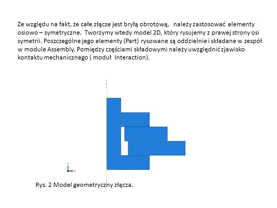 Ze względu na fakt, że całe złącze jest bryłą obrotową, należy zastosować elementy osiowo – symetryczne.