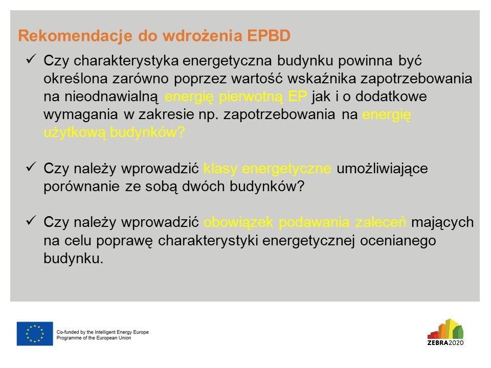 Rekomendacje do wdrożenia EPBD Czy charakterystyka energetyczna budynku powinna być określona zarówno poprzez wartość wskaźnika zapotrzebowania na nieodnawialną energię pierwotną EP jak i o dodatkowe wymagania w zakresie np.