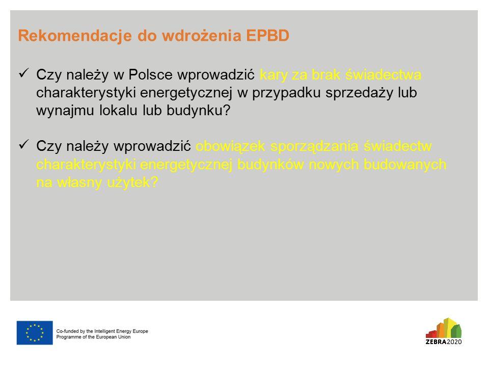 Rekomendacje do wdrożenia EPBD Czy należy w Polsce wprowadzić kary za brak świadectwa charakterystyki energetycznej w przypadku sprzedaży lub wynajmu lokalu lub budynku.