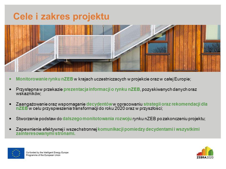 Cele i zakres projektu Monitorowanie rynku nZEB w krajach uczestniczacych w projekcie oraz w całej Europie; Przystępna w przekazie prezentacja informacji o rynku nZEB, pozyskiwanych danych oraz wskazników; Zaangażowanie oraz wspomaganie decydentów w opracowaniu strategii oraz rekomendacji dla nZEB w celu przyspieszenia transformacji do roku 2020 oraz w przyszłosci; Stworzenie podstaw do dalszego monitotowania rozwoju rynku nZEB po zakonczeniu projektu; Zapewnienie efektywnej i wszechstronnej komunikacji pomiedzy decydentami i wszystkimi zainteresowanymi stronami.