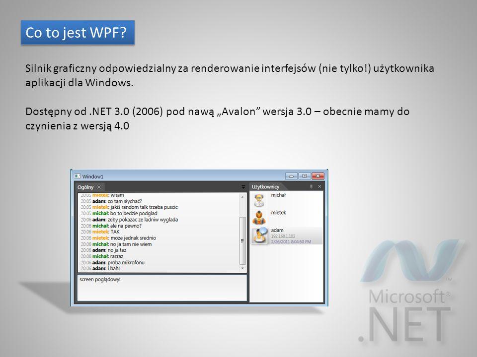Co to jest WPF? Silnik graficzny odpowiedzialny za renderowanie interfejsów (nie tylko!) użytkownika aplikacji dla Windows. Dostępny od.NET 3.0 (2006)