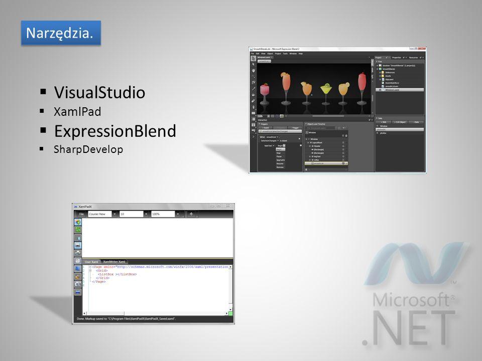 Narzędzia.  VisualStudio  XamlPad  ExpressionBlend  SharpDevelop