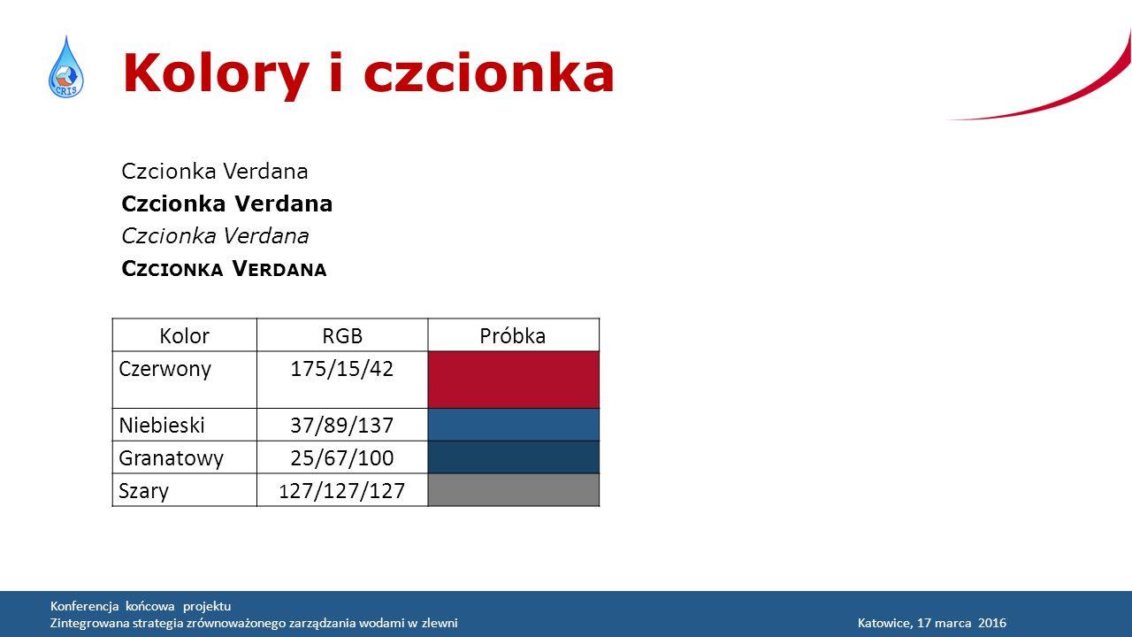 Konferencja końcowa projektu Zintegrowana strategia zrównoważonego zarządzania wodami w zlewniKatowice, 17 marca 2016 Kolory i czcionka Czcionka Verdana C ZCIONKA V ERDANA KolorRGBPróbka Czerwony175/15/42 Niebieski37/89/137 Granatowy25/67/100 Szary 1 27/127/127
