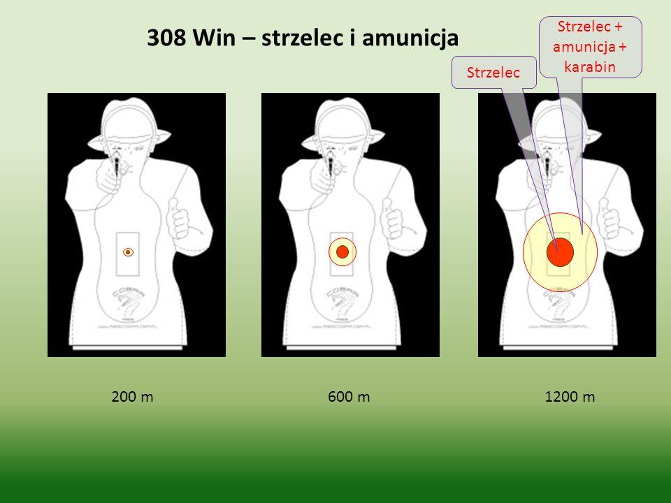 200 m 600 m 1200 m 308 Win – strzelec i amunicja Strzelec Strzelec + amunicja + karabin