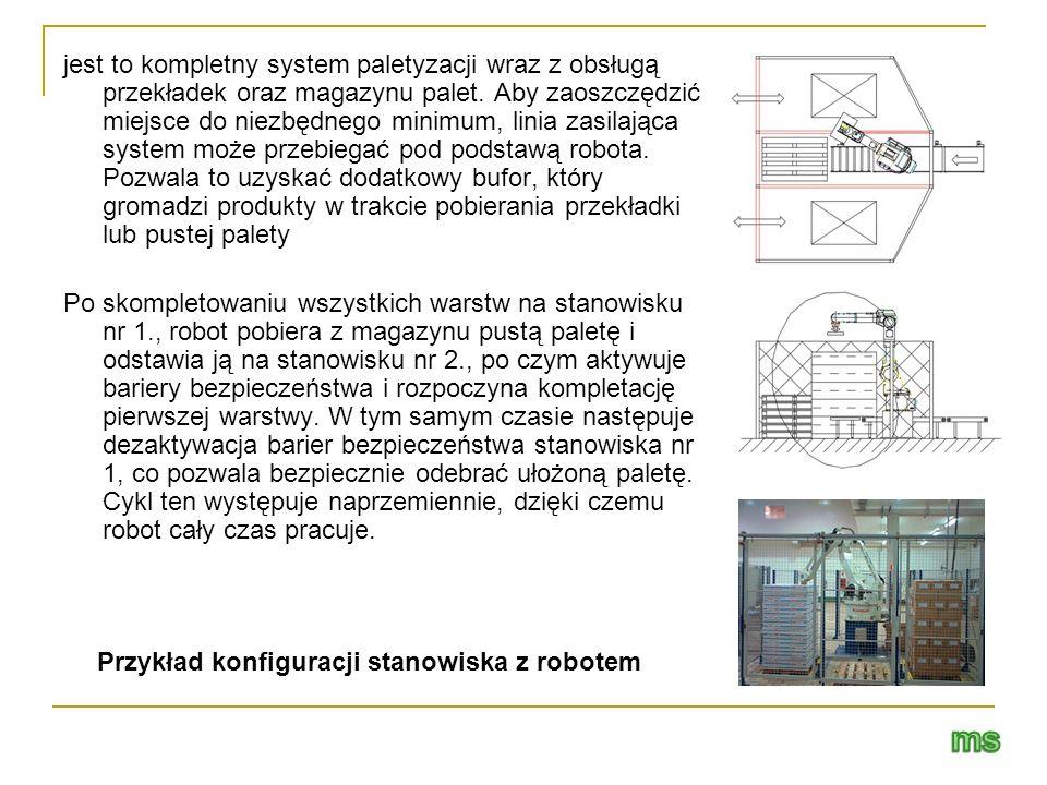 jest to kompletny system paletyzacji wraz z obsługą przekładek oraz magazynu palet. Aby zaoszczędzić miejsce do niezbędnego minimum, linia zasilająca