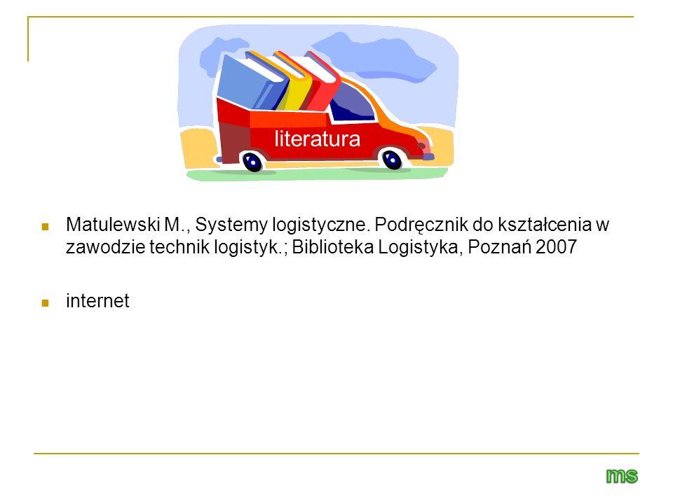 Matulewski M., Systemy logistyczne. Podręcznik do kształcenia w zawodzie technik logistyk.; Biblioteka Logistyka, Poznań 2007 internet literatura