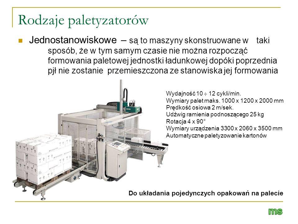 Rodzaje paletyzatorów Jednostanowiskowe – są to maszyny skonstruowane w taki sposób, że w tym samym czasie nie można rozpocząć formowania paletowej je