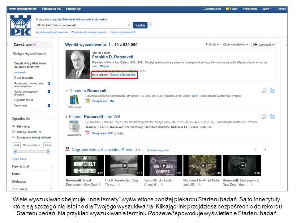 W zależności od Twojego terminu wyszukiwawczego przegląd artykułu może zawierać okno Informacje powiązane z linkami do powiązanych Starterów badań.