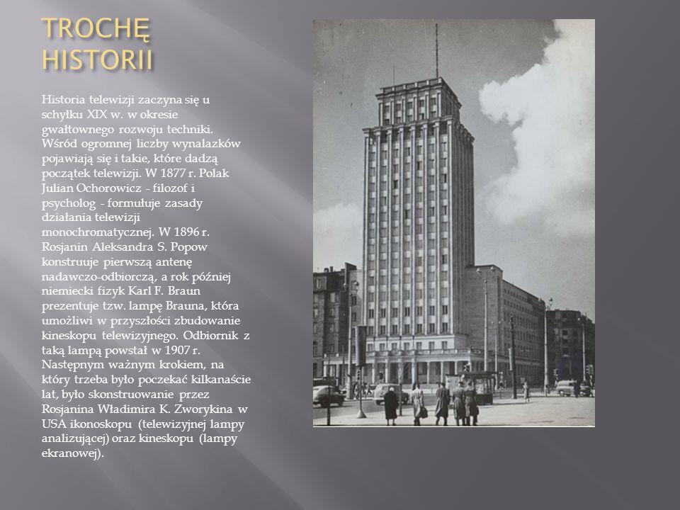 TROCH Ę HISTORII Historia telewizji zaczyna się u schyłku XIX w. w okresie gwałtownego rozwoju techniki. Wśród ogromnej liczby wynalazków pojawiają si
