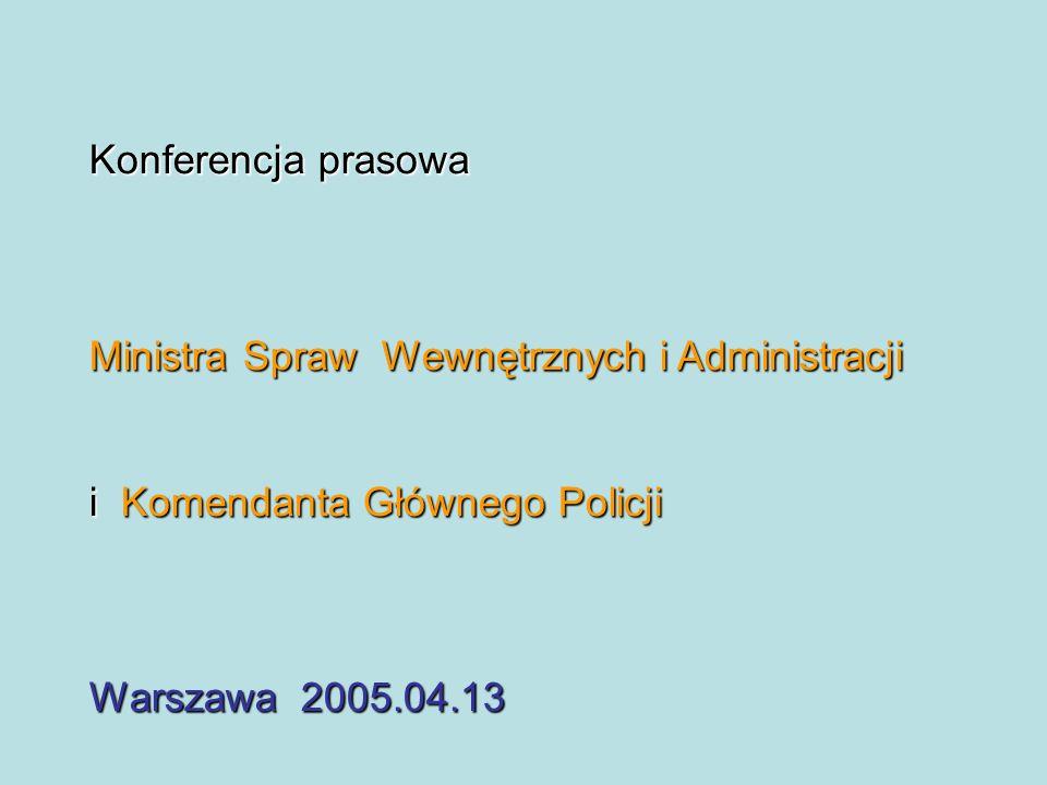 Konferencja prasowa Ministra Spraw Wewnętrznych i Administracji i Komendanta Głównego Policji Warszawa 2005.04.13