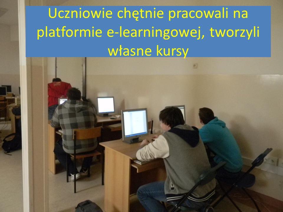 Uczniowie chętnie pracowali na platformie e-learningowej, tworzyli własne kursy