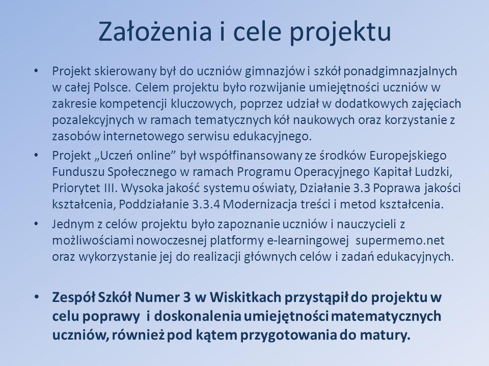 Założenia i cele projektu Projekt skierowany był do uczniów gimnazjów i szkół ponadgimnazjalnych w całej Polsce.