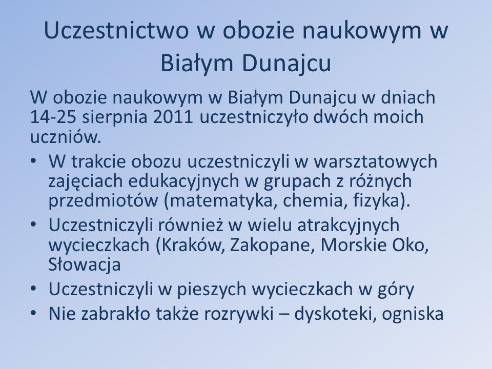 Uczestnictwo w obozie naukowym w Białym Dunajcu W obozie naukowym w Białym Dunajcu w dniach 14-25 sierpnia 2011 uczestniczyło dwóch moich uczniów.