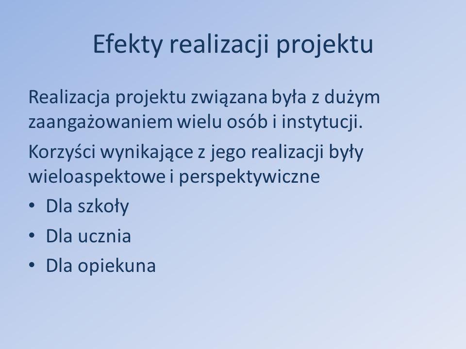 Efekty realizacji projektu Realizacja projektu związana była z dużym zaangażowaniem wielu osób i instytucji.