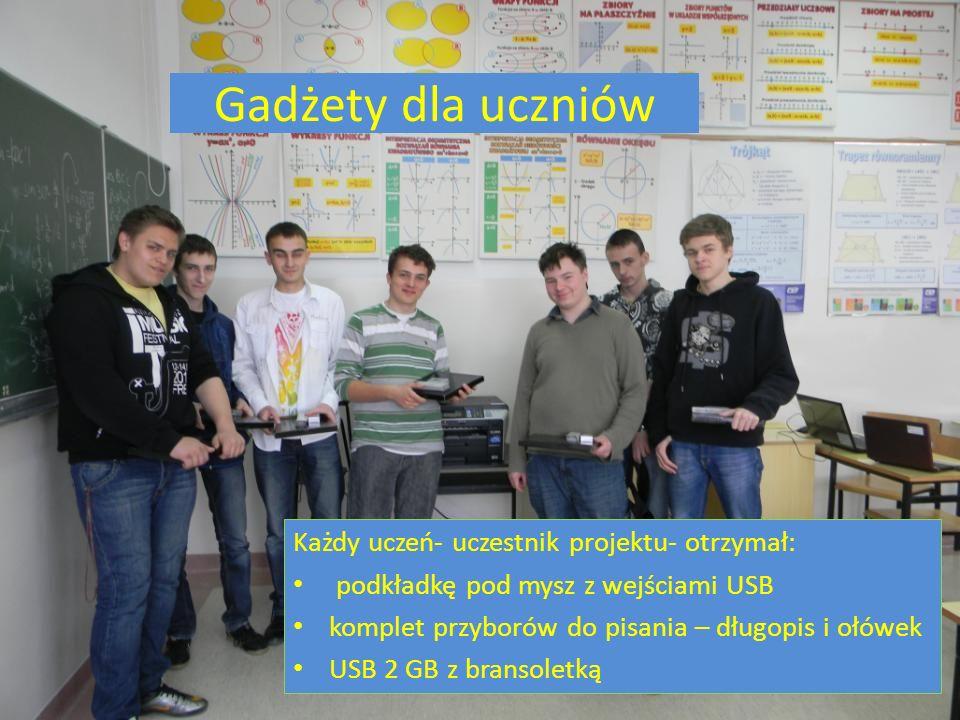 Gadżety dla uczniów Każdy uczeń- uczestnik projektu- otrzymał: podkładkę pod mysz z wejściami USB komplet przyborów do pisania – długopis i ołówek USB 2 GB z bransoletką