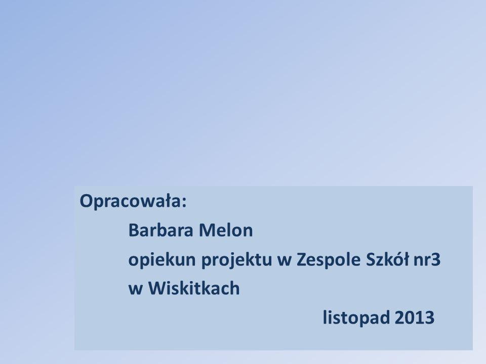 Opracowała: Barbara Melon opiekun projektu w Zespole Szkół nr3 w Wiskitkach listopad 2013